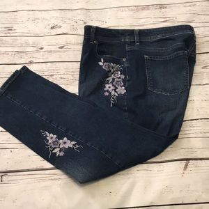 Chico's blue floral embroidered jeans